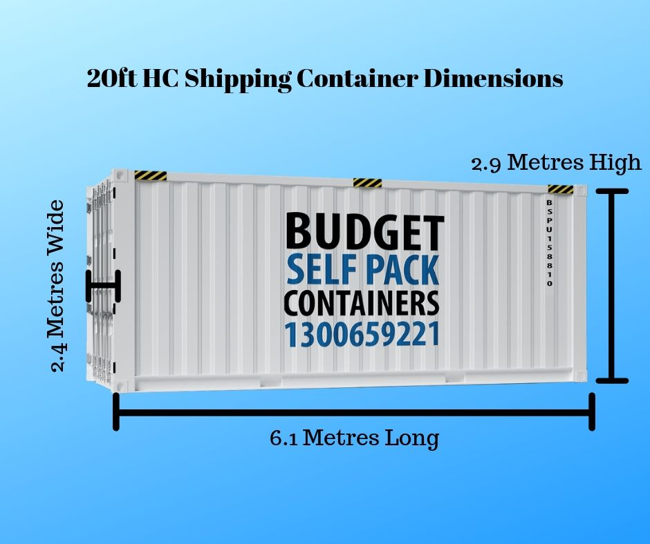 Dimensions of a 20ft HC container | Budget Self Pack Containers