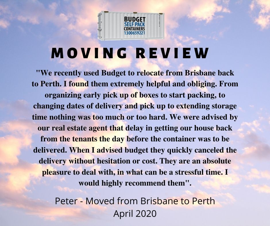 Brisbane to Perth Moving Review | Budget Self Pack Containers