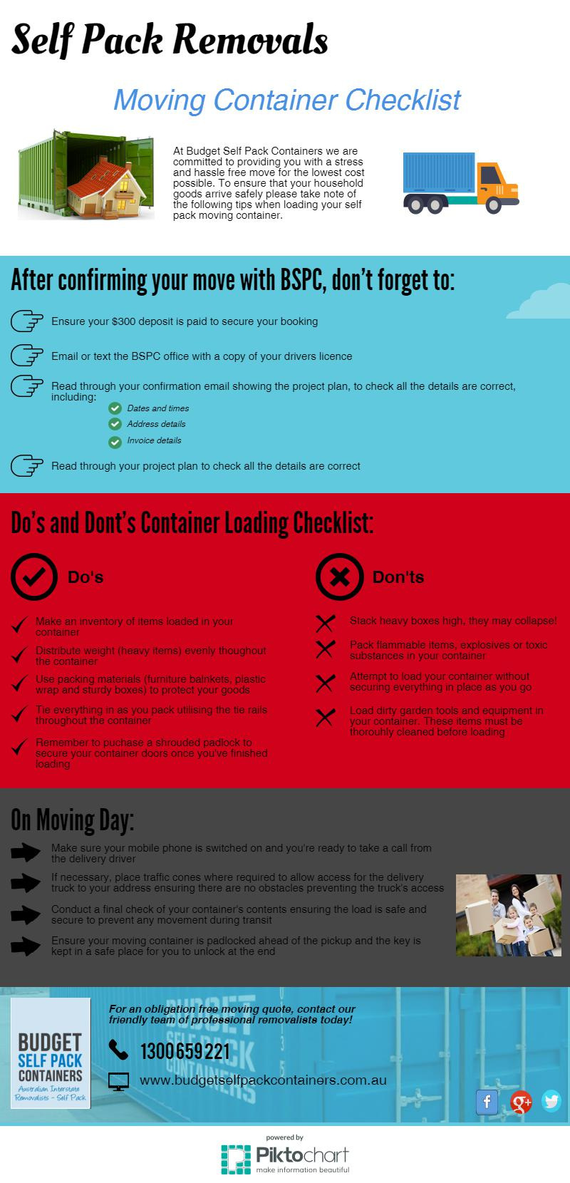 Moving checklist infographic | BSPC Removalists